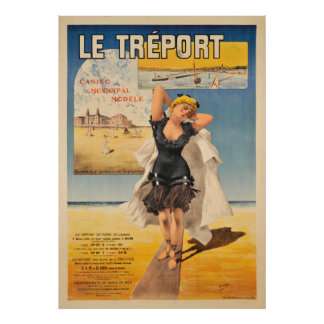 Le Treport Art Nouveau Vintage Travel Poster