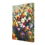 Le vase de chrysanthèmes par Renoir a enveloppé la Impression Sur Toile