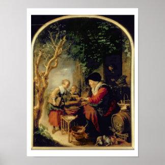Le vendeur de crêpe, 1650-55 (huile sur le panneau posters