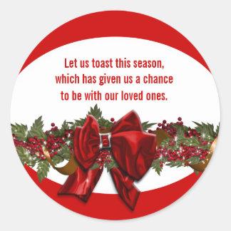 Le vers de souhaits de Noël PERSONNALISENT Sticker Rond