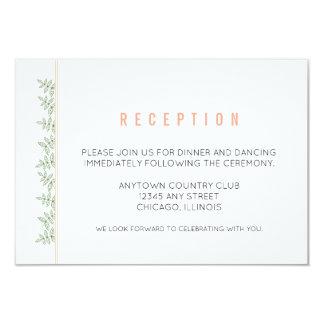Le vert sauge laisse la réception de corail de carton d'invitation 8,89 cm x 12,70 cm