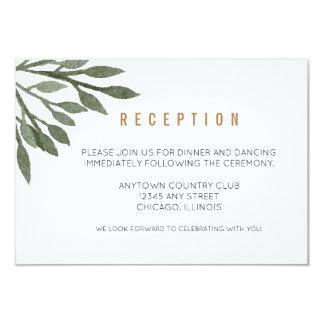Le vert sauge laisse la réception de mariage carton d'invitation 8,89 cm x 12,70 cm