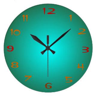 Le vert simple/Aqua a illuminé > des horloges de c