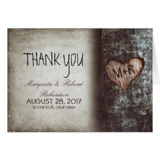 le vieux mariage de coeur d'arbre vous remercient carte de correspondance
