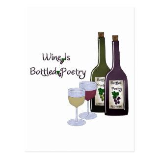 Le vin est collection mis en bouteille de poésie cartes postales
