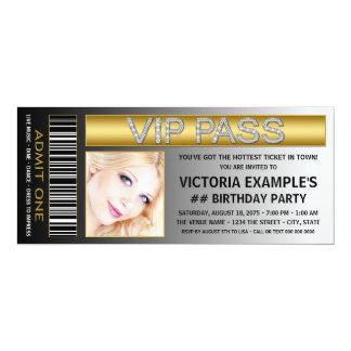 Le VIP passent la fête d'anniversaire de billet Carton D'invitation 10,16 Cm X 23,49 Cm