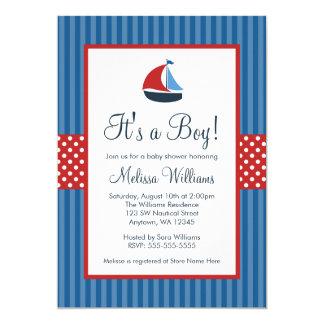 Le voilier nautique barre des invitations de baby carton d'invitation  12,7 cm x 17,78 cm
