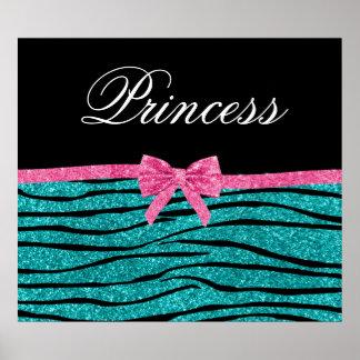 Le zèbre de scintillement de turquoise de princess affiche