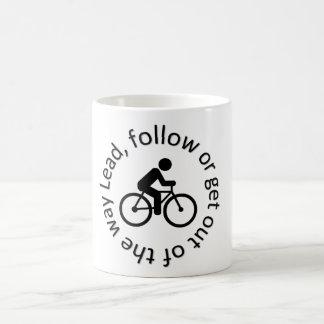 """Lead, Follow"" custom mugs for cyclists"