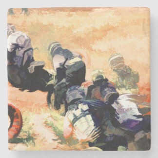 """Leading the Pack"" Motocross Dirt-Bike Racers Stone Coaster"