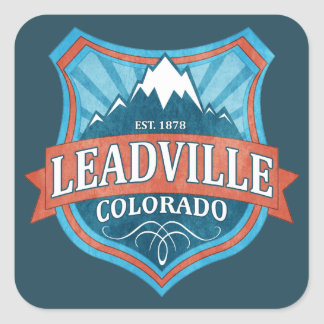 Leadville Colorado teal shield square stickers