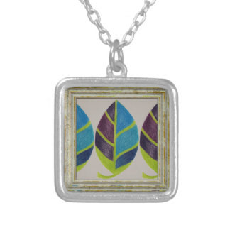 Leaf Abstract Pattern Silver Plated Necklace