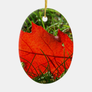 Leaf alone ceramic oval ornament