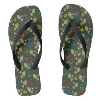 Leaf and beetle flip flops