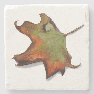Leaf at the beginning of the autumn stone coaster
