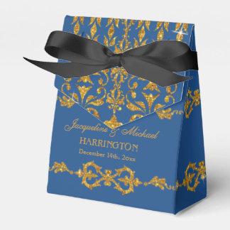Leaf Damask Art Nouveau Glitter Reception Decor Favor Box