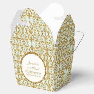 Leaf Damask Art Nouveau Glitter Reception Decor Favor Boxes