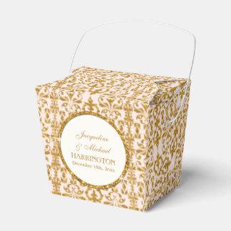 Leaf Damask Art Nouveau Glitter Reception Decor Party Favor Box