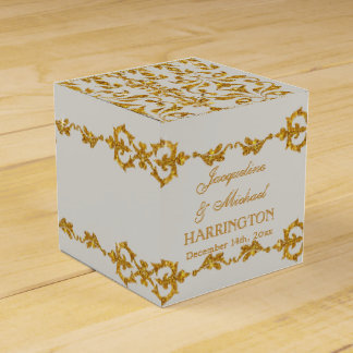 Leaf Damask Art Nouveau Glitter Reception Decor Party Favor Boxes