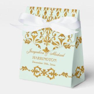 Leaf Damask Art Nouveau Glitter Reception Decor Wedding Favor Box