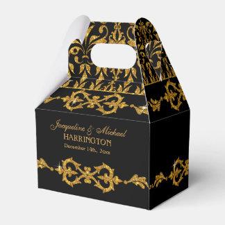 Leaf Damask Art Nouveau Glitter Reception Decor Wedding Favor Boxes