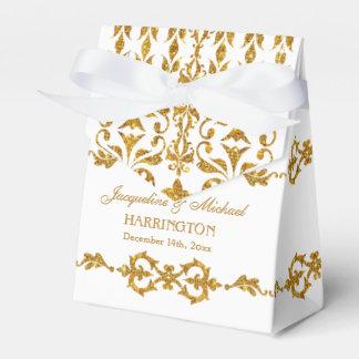 Leaf Damask Art Nouveau Glitter Reception Favor Favor Box