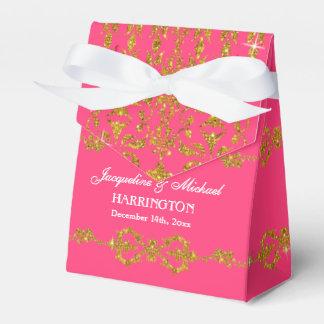 Leaf Damask Art Nouveau Glitter Reception Favor Party Favor Boxes