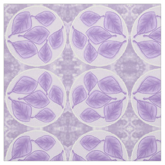 Leaf design fabric in lilacs and white