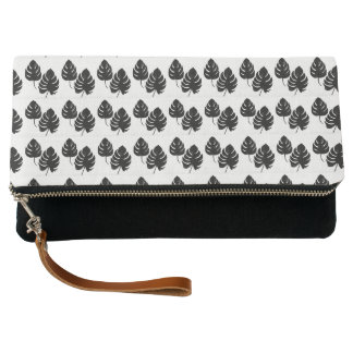 Leaf design folder leather purse