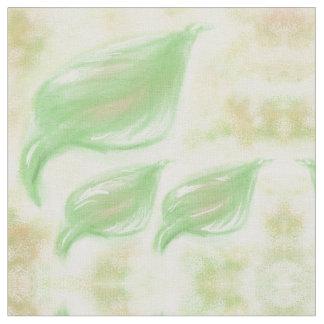 Leaf design in beige/green soft color fabric