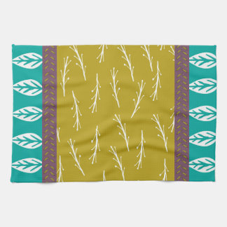 Leaf Design Tea Towel in Turquoise and Green