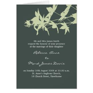 Leaf design Wedding Invitation GREY SKY & MINT