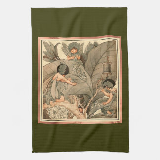 Leaf Faeries Mending Leaves Kitchen Towel