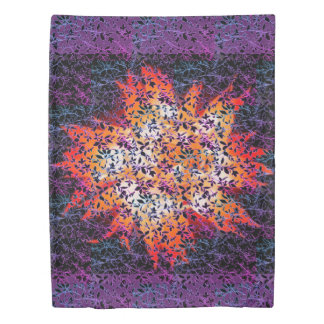 Leaf Flower Purple Duvet Cover