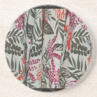 Leaf Flowers Fabric Dress pattern template diy fun Drink Coaster