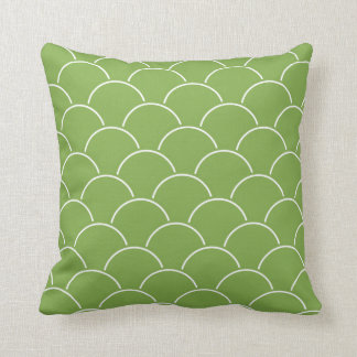 Leaf Green and White Scallop Pattern Throw Pillow