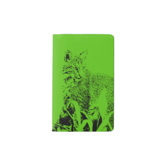 Leaf Green Bobcat Portrait Notebook Cover