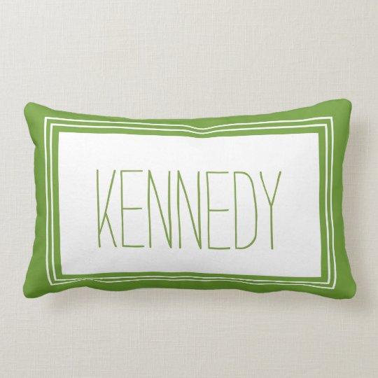 Leaf Green Custom Monogram Name Keepsake Lumbar Pillow