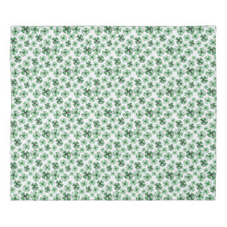 Leaf-Green Lucky Shamrock Clover Duvet Cover