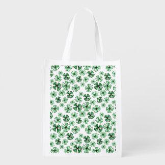 Leaf-Green Lucky Shamrock Clover Reusable Grocery Bag