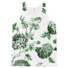 Leaf Green Vintage Botanical Floral Toile No2 All-Over-Print Tank Top