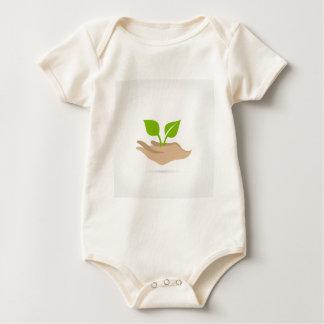 Leaf in hands baby bodysuit