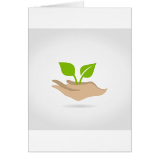 Leaf in hands card