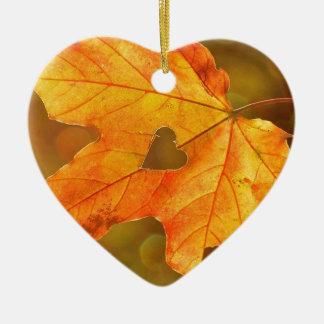 Leaf in Heart Ceramic Heart Ornament