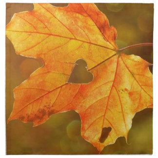 Leaf in Heart Napkin