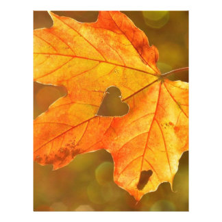 Leaf in Heart Personalized Letterhead