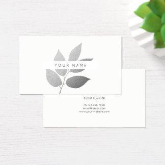 Leaf Laurel Eco  Botanic Silver Gray White Business Card