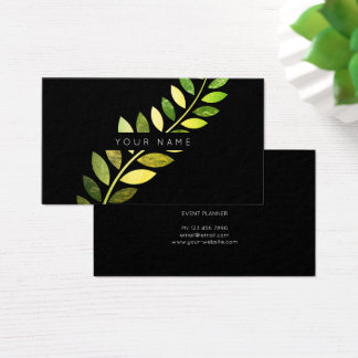 Leaf Laurel Fern Botanic Green Emerald Black Business Card