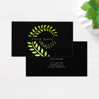 Leaf Laurel Fern Botanic Green Serpentine Black Business Card