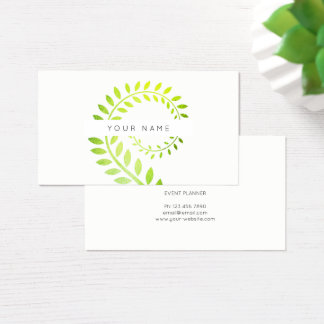 Leaf Laurel Fern Botanic Green Serpentine White Business Card